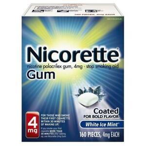 NEW GENUINE NICORETTE GUM WHITE ICE MINT 4 MG, 160 PIECES