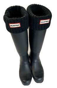 Hunter Black Original Tall Rubber Rain Boots White Original Socks Included US 7