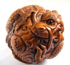 "1940's Japanese handmade Boxwood Netsuke ""Dragon Ball"" Figurine Carving"