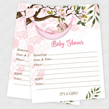 Girl Baby Shower Invitations With Envelopes Set of 20 Invites