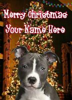 A5 Personalised Staffy Bull Terrier Christmas Tree Card ANY NAME Xmas PIDXM752