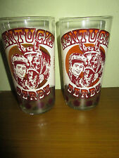 Set of 2 Vtg 1977 Kentucky Derby Collectible Glasses Churchill Downs Winner List