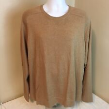 LL Bean Mens Sweater Cotton Cashmere Blend Crewneck Long Sleeve XL Brown Tan FS!