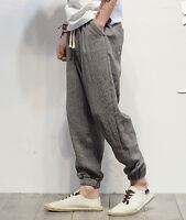 L Casual Mens Bloomers Linen Trousers Cotton Haroun Pants Loose Fit Long Summer