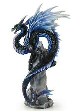"10"" Sapphire Sentinel by Andrew Bill Dragon Fantasy Home Decor Gothic Statue"