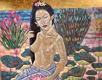 Gorgeous Balinese Woman Flower Gold Leaf Painting Hand Painted Original Art