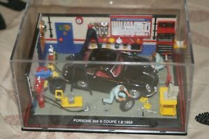 1/43 Garage scene showing a typical 1950/60's with a Porche in for service.