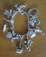 charms Mickey Mouse Windmill Mexico vintage Charm Bracelet Sterling 925 15