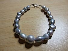 """Mixed Grey Colours Freshwater Pearl 7"""" Bracelet with 925 Silver Clasp"""