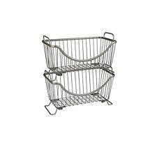 Spectrum Ashley Stackable Basket, Small, Satin Nickel, New, Free Shipping