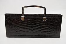 Authentic Nina Ricci Hand Bag  Browns Crocodile Leather 108659