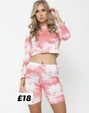 womans Pink Tie dye cycling shorts and top Co-ord set Super Soft lounge wear 10