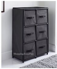 Canvas 6 Drawer Storage Home Office Paper Clothes Books Organiser Unit Tube Grey