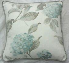 "cushion   Cover laura asHley Hydrangea Duck egg fabric  piped grey   18"""