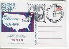 POLPEX 1979 card, cachet + cancel. Polonus 40th Anniv.  (PC1979E)