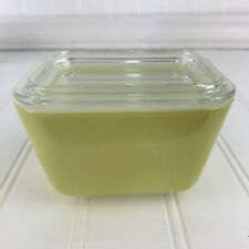 Vintage Pyrex 501 B Yellow Verde Refrigerator Dish 1.5 Cups Glass Dish With Lid