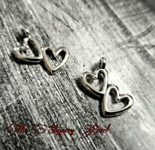 10 Double Heart Charms 2 Hearts Pendants Antiqued Silver Love Findings