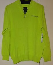 Calvin Klein Jeans Boys Lime Green Size L Half Zip Sweater Pullover NWT NEW
