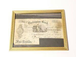 1886 Original Five Pound £5 Banknote Darlington Bank Cancelled Cut No. GG716