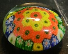 Vintage Orange, Yellow, Green, Blue & White Millefiori Glass Paperweight Excell