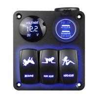 3 Gang Dual USB Voltmeter Switch Panel Breaker LED Charger 12V/24V Car Boat P0CA