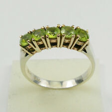 Green Peridot Claws 2 Colour Ring Genuine 925 Sterling Silver, 375 9k Gold R507