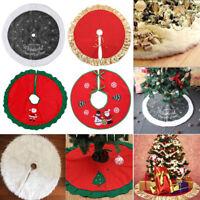 35in/90cm Christmas Santa Tree Skirt Cover Floor Mat Carpet Xmas Home Decor