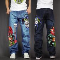 Men's Skate Baggy Loose Rap Hip Hop Jeans Denim Print Trousers Long Pants 8W5Q