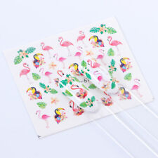 Nail Art Water Decals Transfers Stickers Summer PINK Flamingo Palm Tree (672)