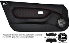 RED DIAMOND STITCH 2X FULL DOOR CARD LEATHER COVERS FITS MG MGF MK1 1995-1999