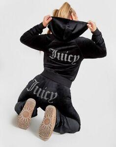 JUICY COUTURE Diamante Logo Velour tracksuit Hoodie /Bottoms  size m