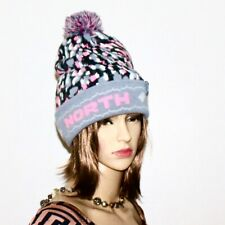 NWOT THE NORTH FACE Youth Girls Pom Beanie Knit Hat Gray Pink PX453366