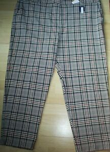 M&S Collection Checked The Freya relaxed straight Trousers Size 24 Regular  NEW