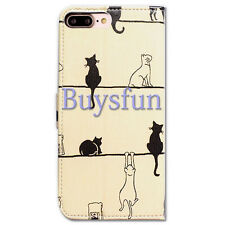 Bocov Black Cat White Cat Leather Wallet Cover Case For iPhone 7 Plus