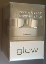 Brookstone Glow Rechargeable Tealight Candle Lights New LED Flicker
