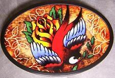 Metal TATTOO belt buckle Bird and Rose NEW