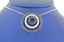 14k White Gold Sapphire & Diamond Love Circle Pendant Necklace, 8.2gm,S103113