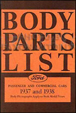 1937-1938 Ford Body Parts List 37 38 Car and Truck Catalog with Part Numbers