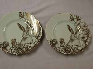 "222 FIFTH BUNNY GARDEN PLAYTIME LT GREEN & Gold lot 2 salad plates 8 1/2"" NEW!"