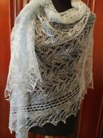 Russian Authentic Original New Lace Knitted Shawl SCARF (PASHMINA) Grey