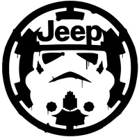 STORM TROOPER JEEP OVER EMPIRE DISTRESSED DECAL VINYL CAR TRUCK STICKER