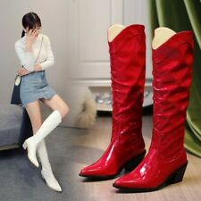Womens  Med Heels Western ShoesPatent Leather Pointed Toe Knee High Riding Boots