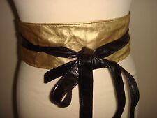 New Gold & Black Faux Leather Women's Wrap Obi Two Way Tie Belt One Size Kk