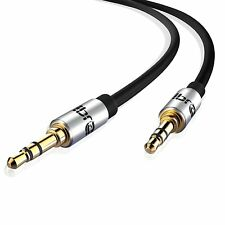 IBRA 1M 3.5mm Stereo Headphone Audio Jack / AUX Gold Cable Car PC Gold - Black