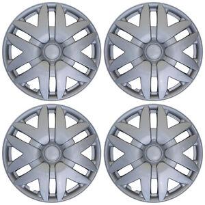 "4 PIECE Set Hub Cap ABS Silver 15"" Inch Rim Wheel Skin Cover Center Caps Covers"