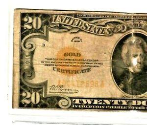 """$20 """"GOLD CERTIFICATE"""" 1928  $20 """"GOLD CERTIFICATE"""" $20 1928 RARE NOTE!! """"GOLD""""!"""