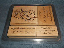 2004 STAMPIN' UP 4 PC WOOD MOUNTED RUBBER INK STAMP SET - ON ANGEL WINGS - NEW