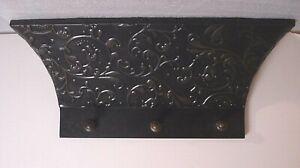 vtg wall hanging embossed Metal & wood floating Shelf w/Hooks black/bronze foyer