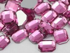 8x6mm Hot Pink H112 Flat Back Octagon Acrylic Gemstones - 100 PCS