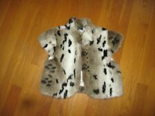 Girls Children's Place Brown Spotted Faux Fur Cropped Vest Jacket Large 10-12